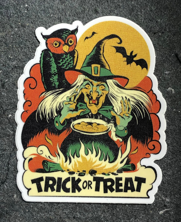 "Trick or Treat Witch 4"" Sticker"