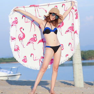 Flamingo Round Beach Towel-flamingo freaks