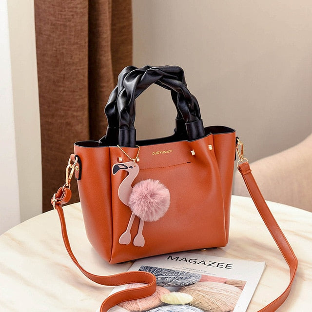 Flamingo Leather Handbag-flamingo freaks