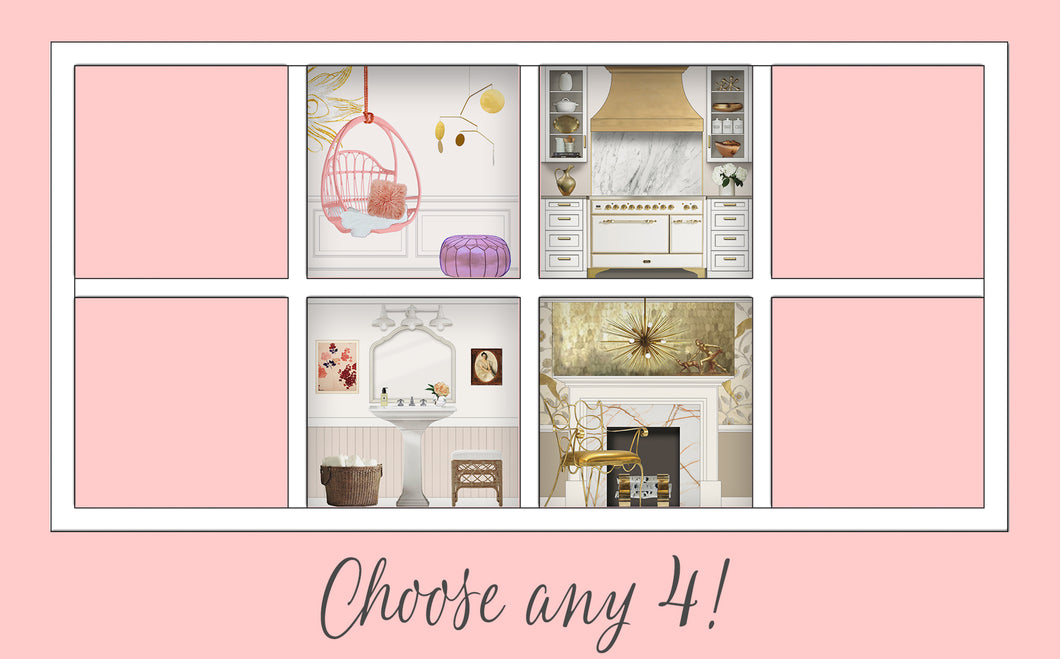 You Choose!: Four Room Dollhouse Room Inserts for $109!