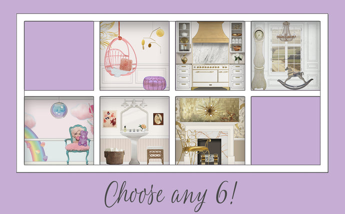 You Choose!: Six Room Dollhouse Room Inserts for $156!