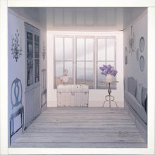 Load image into Gallery viewer, Faded and White: myDoll.house livingroom photo of ikea hack diy dollhouse room insert