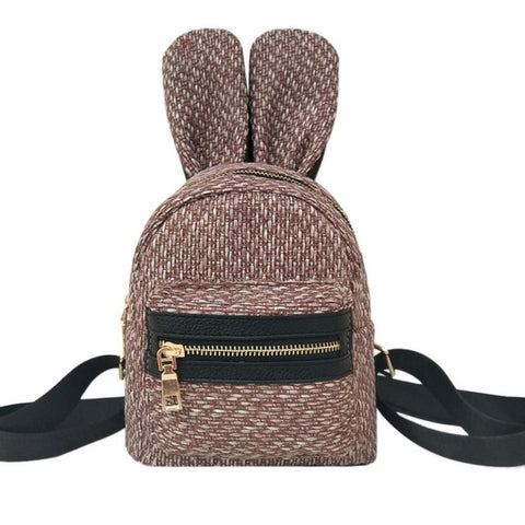 Mini's Chocolate Woven Bunny Satchel Backpack