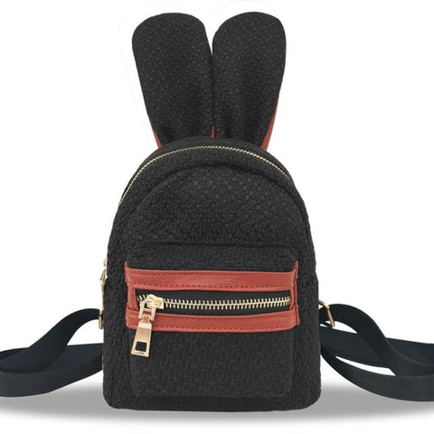 Mini's Black Woven Bunny Satchel Backpack