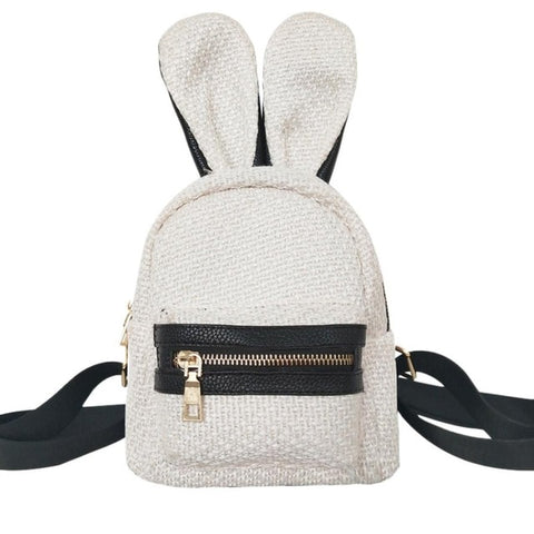 Mini's Cream Woven Bunny Satchel Backpack