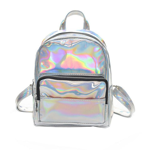 Mini's Silver Laser Faux Leather Backpack