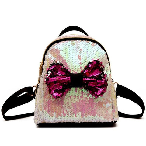 Mini's Opal Pink Sequins Bow Tie Satchel Backpack