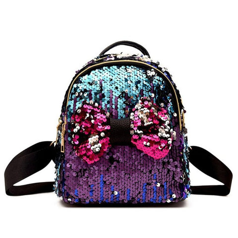 Mini's Blue/Purple Sequins Bow Tie Satchel Backpack