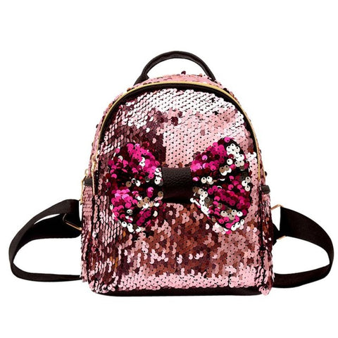 Mini's Pink Sequins Bow Tie Satchel Backpack