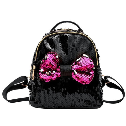 Mini's Black Sequins Bow Tie Satchel Backpack