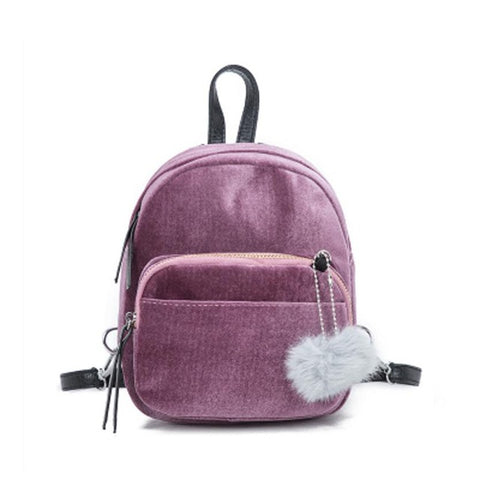 Mini's Blush Velvet Backpack With Fur Ball Charm