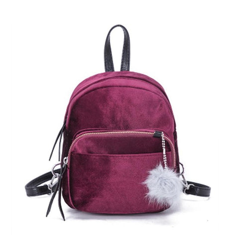 Mini's Ruby Velvet Backpack With Fur Ball Charm