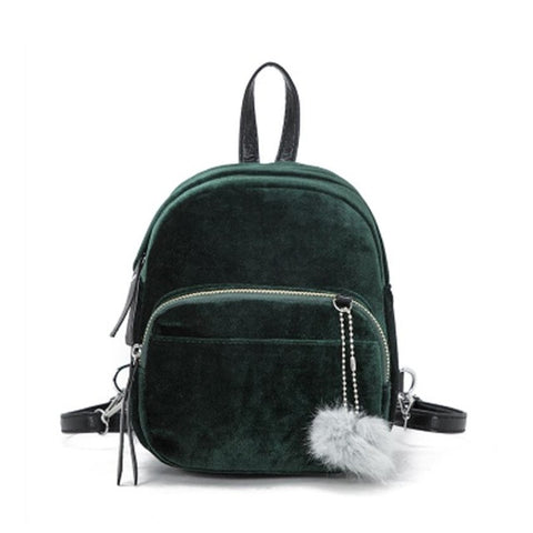 Mini's Jade Velvet Backpack With Fur Ball Charm