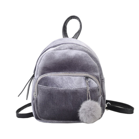 Mini's Gray Velvet Backpack With Fur Ball Charm