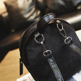 Mini's Black Velvet Backpack With Fur Ball Charm