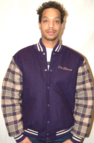 Purple & Tan Plaid Varsity Jacket