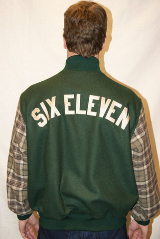 Green & Tan Plaid Varsity Jacket