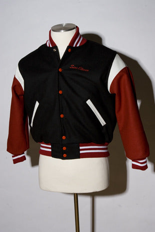 Sexy Eleven Ladies Black & Red Varsity Jacket