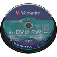 Pk10 verbatim dvd-rw 4.7gb 1-4x spindle