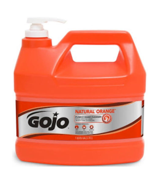 Go-Jo Natural Orange pumice hand cleaner, Citrus, 1gal pump, 4gal/carton