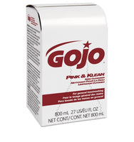 Go-Jo pink and klean skin liquid hand soap, 800ml, dispenser refil, floral scent, for use w/gojo black/white bag-in-box dispensers, 12units/case, $3.25/ea, $38.95/ct