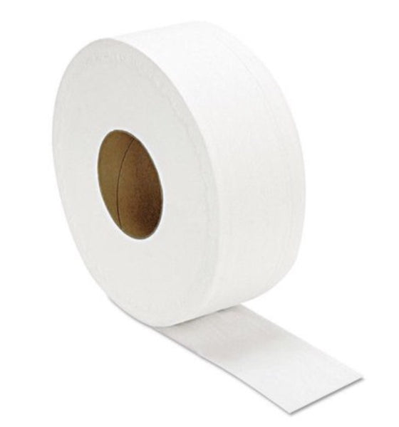 "Toilet paper- Jumbo 2-ply toilet paper white, available in 9"" roll and 12"" roll"