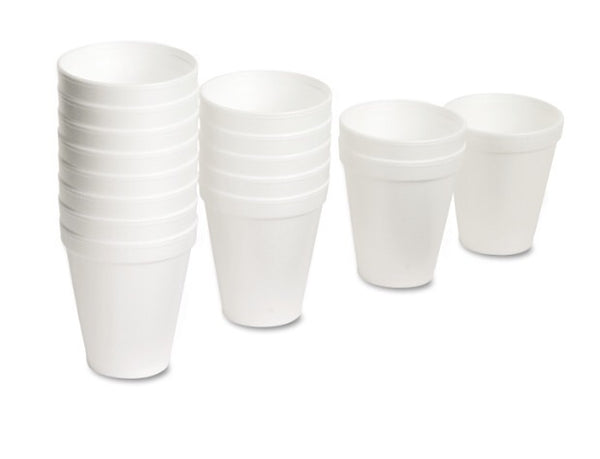 StDart foam drinking cups, white, available in 8oz, 12oz, and 16oz