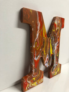Wood Initials Letter M Hand Painted Door Hanger