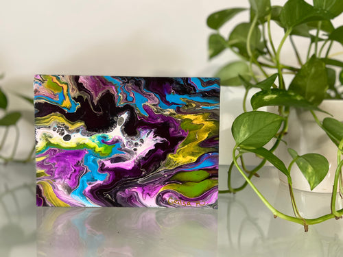"Acrylic Pour Painting  on Wood 5"" x 7"" x 1.5"""