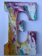 Load image into Gallery viewer, Acrylic Pour glittered Wooden Initial Door Hanger Letter E