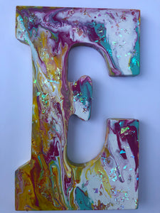 Acrylic Pour glittered Wooden Initial Door Hanger Letter E