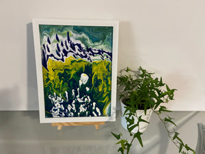 "Flowing Framed Acrylic Painting  8"" x 10"""