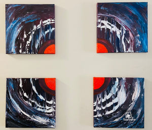 "Abstract Acrylic Painting 12"" X  12"" Set of 4"