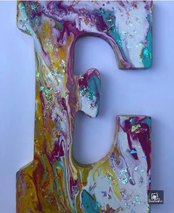 Wood Initials Letter E  Hand Painted Door Hanger