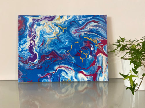 "( 12""x 16"" ) Abstract Acrylic Pour Painting"