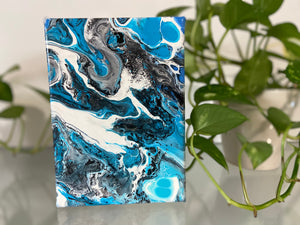"7"" x 5"" Abstract Acrylic Pour Painting"