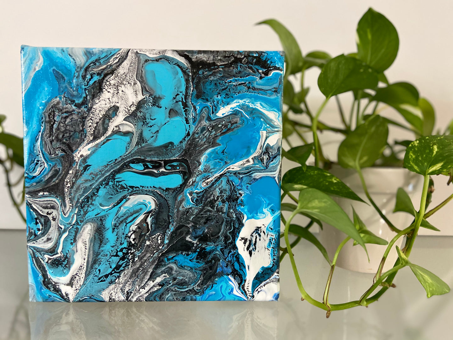 "8"" x 8"" Abstract Acrylic Pour Painting"