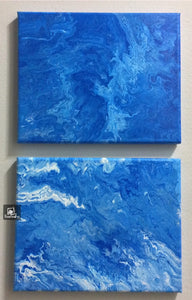 Abstract painting 8x10 Acrylic Pour Set of Two