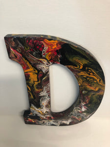 Wood Initials Letter D Hand Painted Door Hanger
