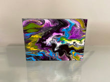 "Load image into Gallery viewer, Acrylic Pour Painting  on Wood 5"" x 7"" x 1.5"""