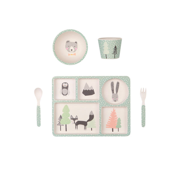 LOVE MAE Fox and Friends - 5 Piece Bamboo Dinner Set