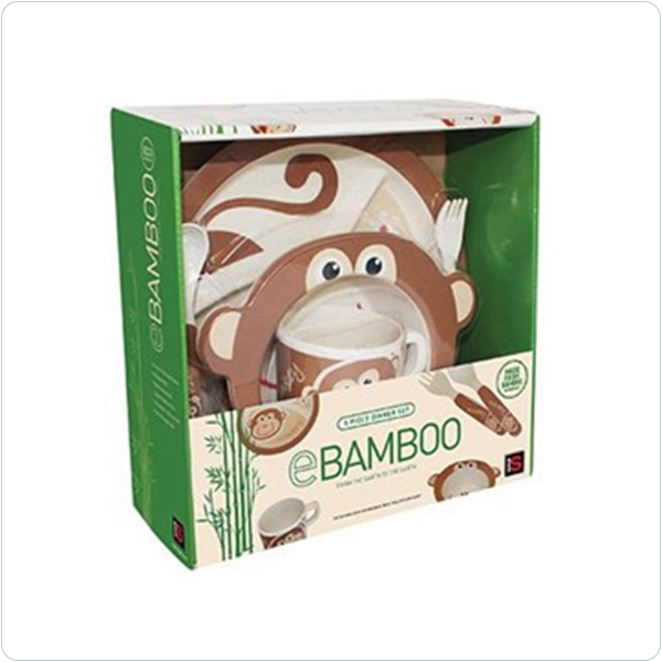 E Bamboo Kids Dinner Sets - Monkey