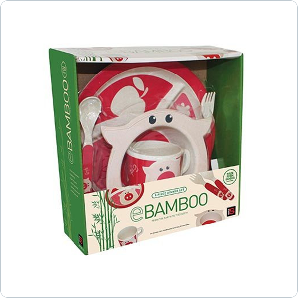 E Bamboo Kids Dinner Sets - Pig