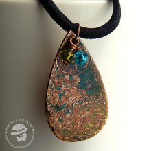 Load image into Gallery viewer, Copper teardrop 'Drop of the world' pendant