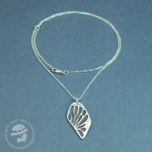 Sterling monarch butterfly wing necklace