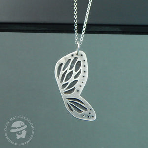 Sterling silver spots & dots butterfly wing necklace