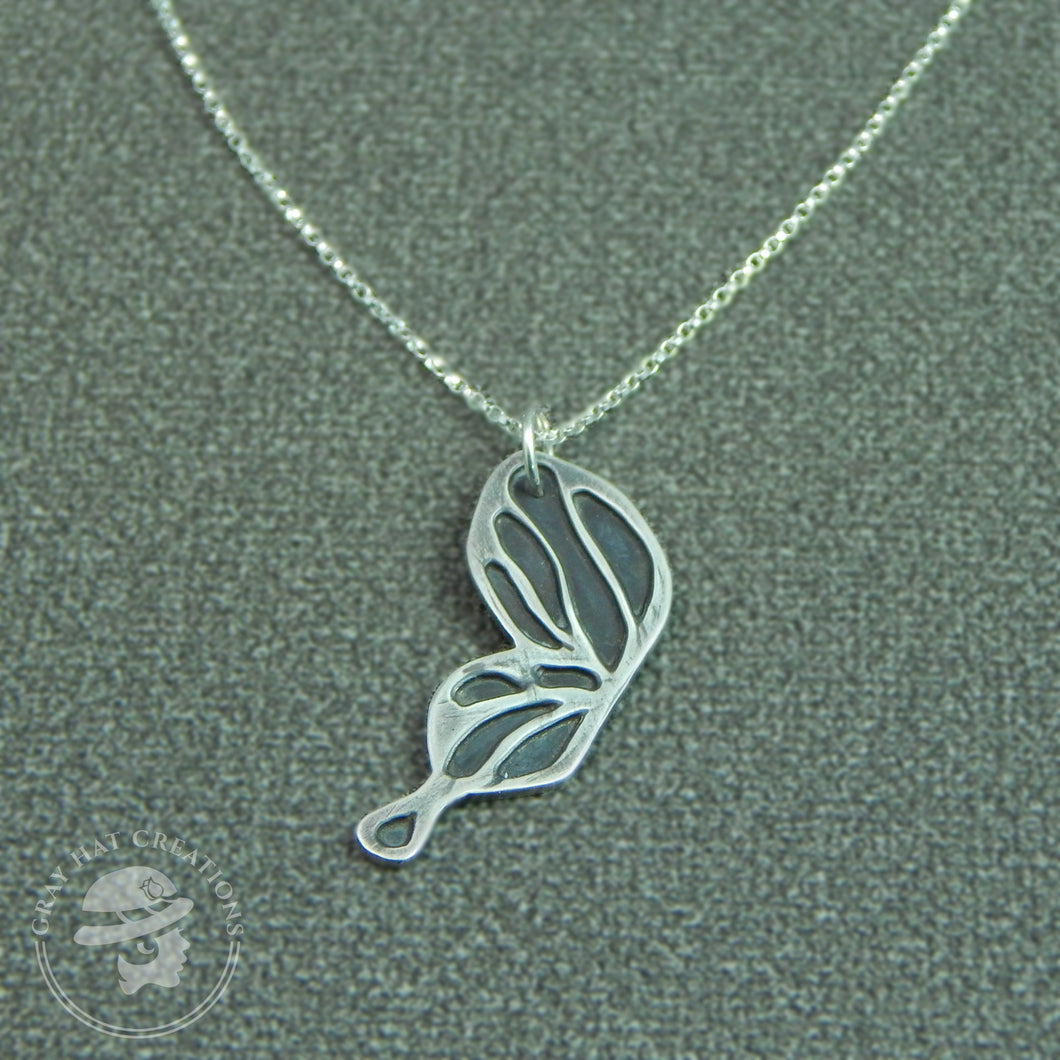 Sterling silver ebb & flow butterfly wing necklace