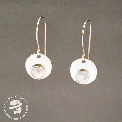 Sterling circle howlite gemstone earrings