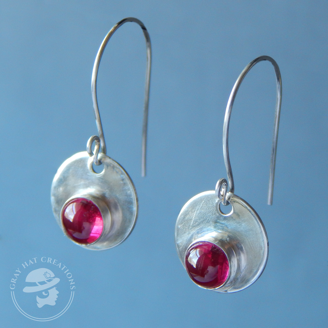 Ruby sterling silver gemstone earrings
