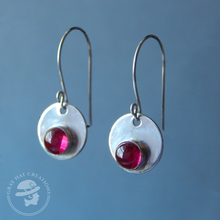 Load image into Gallery viewer, Ruby sterling silver gemstone earrings